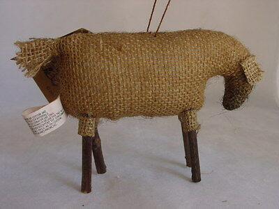 Very Primitive Burlap SHEEP Ornament Honey & Me NEW