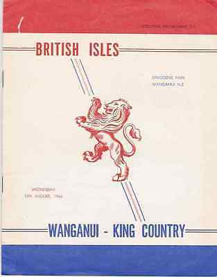 BRITISH LIONS 1966 v WANGANUI-KING COUNTRY  RUGBY PROGRAMME