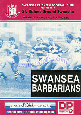 SWANSEA v BARBARIANS 1990 RUGBY PROGRAMME