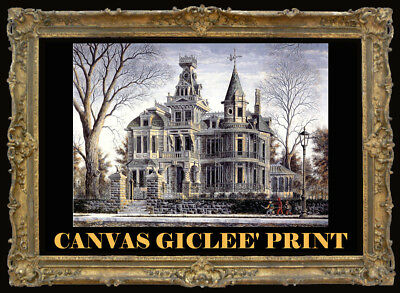 Haunted Halloween Spook House Devil Canvas Art with Hand Painting SIGNED Souders