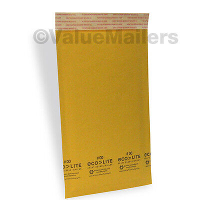 250 #00 5x10 Kraft Ecolite Bubble Mailers Padded Envelopes Bags Self Seal 5 x 10