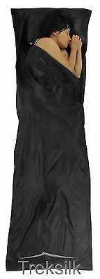 BLACK Silk Liner Sleeping Bag/Sack Hostel Backpacker Travel Inner Sheet 210cm