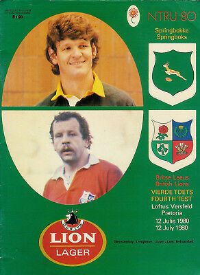 BRITISH LIONS 1980 4th TEST v SPRINGBOKS RUGBY PROG