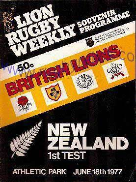 BRITISH LIONS v NEW ZEALAND 1977 1st TEST RUGBY PROGRAMME