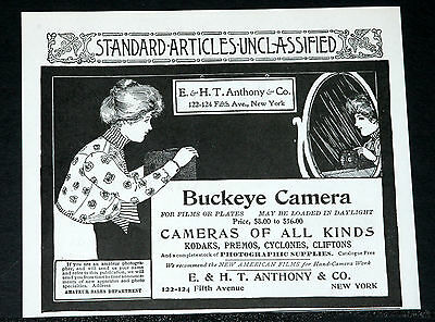 1900 Old Magazine Print Ad, Buckeye Camera, Films Or Plates, Load In Daylight!