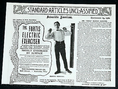 1900 Old Magazine Print Ad, The Fortis Electric Exerciser, Endorsed By Science!