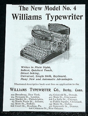 1900 Old Magazine Print Ad, New Williams Model No. 4 Typewriter, Direct Inking!