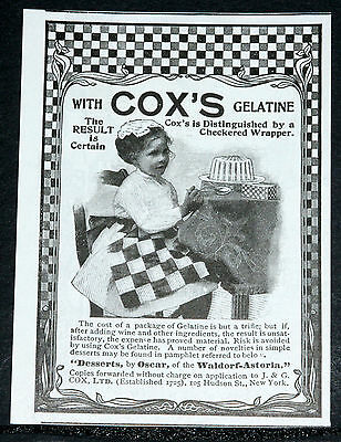 1900 Old Magazine Print Ad, Cox's Gelatine The Result Is Certain, Checkered Box!