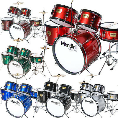 Mendini 5 Piece Child Junior Jr. Drum Set +Cymbal ~Black Blue Green Red Silver