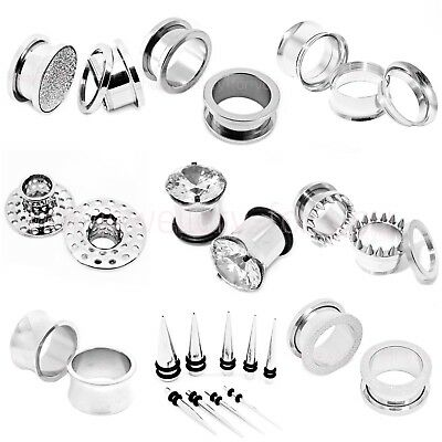 Silver Flesh Tunnel Ear Plug Stainless Steel Defender Stretcher 6 Types 16 Sizes