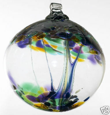 """Kitras TREE OF ENCHANTMENT 'BLESSINGS' -Hand Blown Glass Ornament WITCH BALL 5"""""""