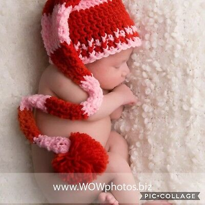 Crochet Newborn Baby Red And Pink Long Tail Elf Hat ~ Candy Hearts Longtail Hat