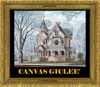Victorian Queen Anne Antique Shop Painted Textured Canvas Giclee SIGNED Souders