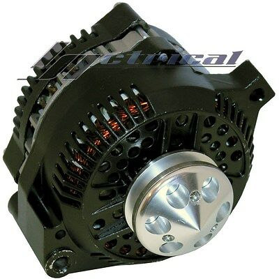 ALTERNATOR For FORD HOTROD BLACK 1G BILLET PULLEY 1 ONE WIRE HIGH OUTPUT 160 AMP