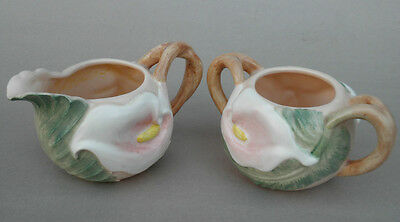 FITZ & FLOYD 1987 Creamer & Sugar Bowl LILY OF VALLEY Calla AS IS JUG side crack