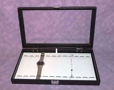 Glass Top Jewelry Display With Bracelet/watch Pad White