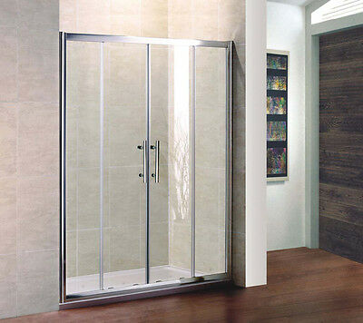 1600x700mm Chrome Sliding Shower Enclosure Double Door and Stone Tray