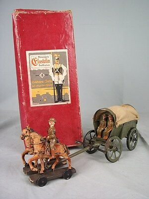Boxed Elastolin c1920 Field Wagon With 3 British Crew & 2 Horse Team