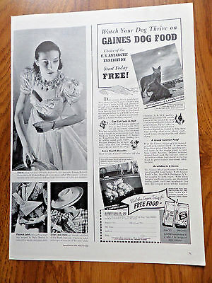 1941 Gaines Dog Food Ad  U S Antarctic Service Huskies