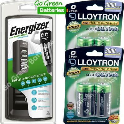 Energizer Universal Charger + 4 C Size 3000 mAh LLoytron Batteries AA AAA C D 9V