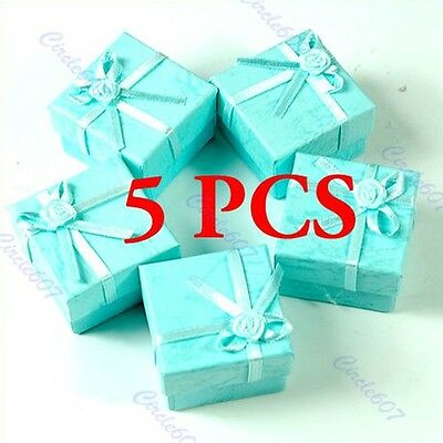 5 Pcs Jewellery Jewelry Gift Box Case for Ring Square Green