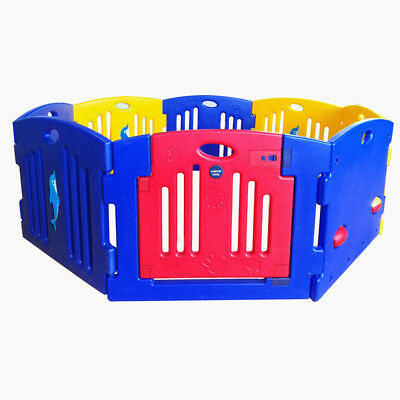 New MAMAKIDDIES Baby Child Kids 8 Sided Plastic Play pen Playpen W/ Safety Gate