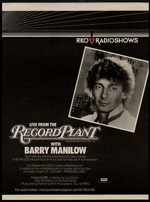 1984 Barry Manilow Live From The Record Plant Promo Ad