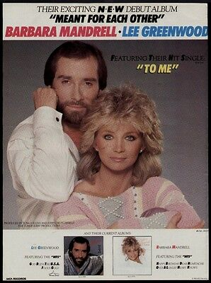 "1984 Barbara Mandrell & Lee Greenwood ""meant For Each Other""  Debut Album Ad"