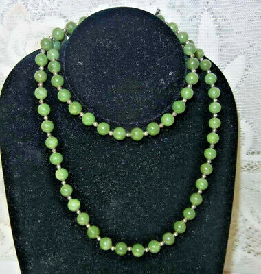 Antique Chinese A GRADE APPLE GREEN Jade Nephrite Sterling Wery Long Necklace