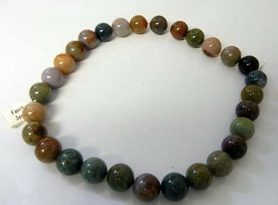 Vintage Chinese Green Jasper 15mm Beads String 29 pcs.