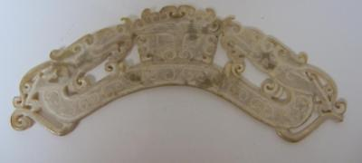 Authentic Antique Cinese Women Jade Hand Carved White 18c Hair Ornament Decor