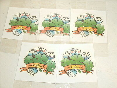5 Lucky You CLOVERS DICE CARDS Scented Temporary Tattoos New
