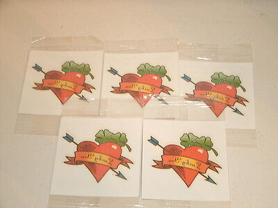 5 Lucky You HEART DART CLOVERS Scented Temporary Tattoo