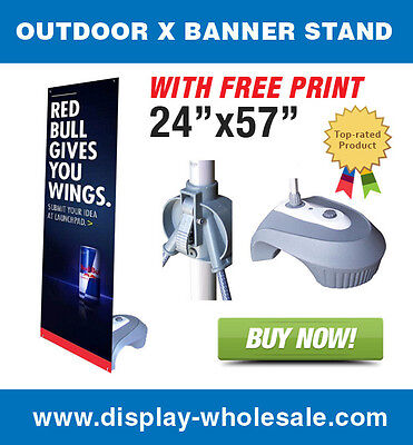 """Outdoor X Banner Stand + 24"""" X 57"""" Print"""