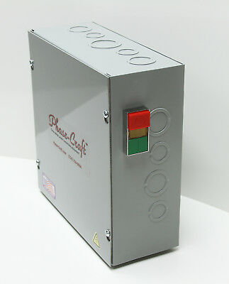 Phase-Craft 7.5 HP ROTARY PHASE CONVERTER CONTROL PANEL manual start-pushbutton!