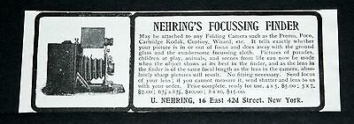 1901 Old Magazine Print Ad, Nehring's Focussing Finder, For Any Folding Camera!