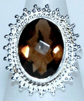 Smoky Quartz brown Gemstone Unique 925 Sterling SILVER Rings Ring Jewellery NEW
