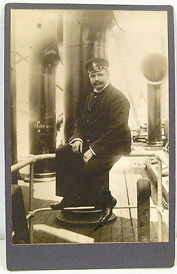 Occupational Cabinet Photograph - Dashing Ship's Officer in Uniform  c1910