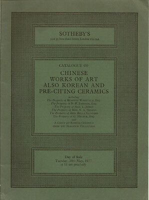 SOTHEBY'S LONDON CHINESE KOREAN PRE-CH'ING CERAMICS WOA Auction Catalog 1977