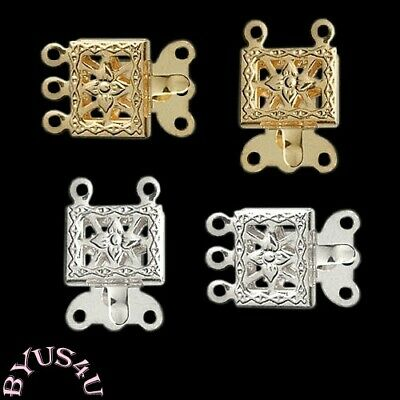 BOX CLASPS 2 and 3 strand choice 10x7mm ORNATE FLOWER FILIGREE GOLD PLATED 10pcs