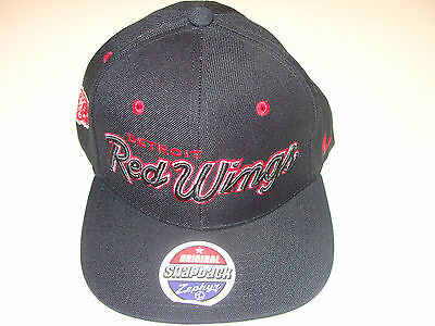 Zephyr Detroit Red Wings Black Snapback Cap Hat Headliner NHL Hockey OSFM
