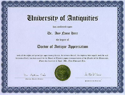 Doctor Antiquities Novelty Diploma Antique Junk Lover