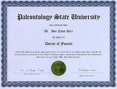 Doctor Fossil Appreciation Novelty Diploma Trilobite