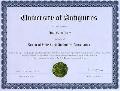 Doctor Holy Land Antiquities Appreciation Diploma Cross