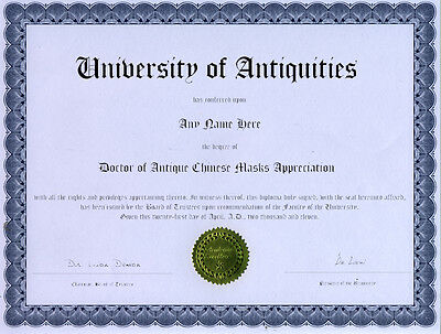 Doctor Antique Chinese Mask Appreciation Diploma