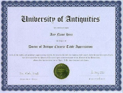 Doctor Antique Chinese Table Appreciation Diploma