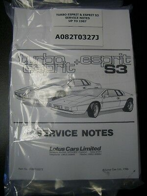 Lotus Esprit Turbo + Esprit S3 Service Notes