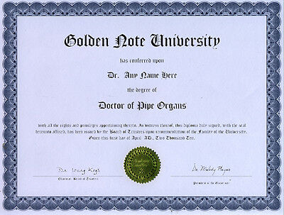 Doctor Pipe Organs Diploma