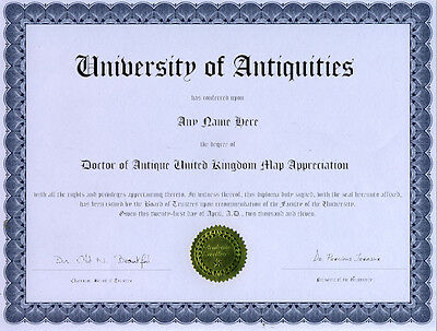 Doctor Antique United Kingdom Map Appreciation Diploma