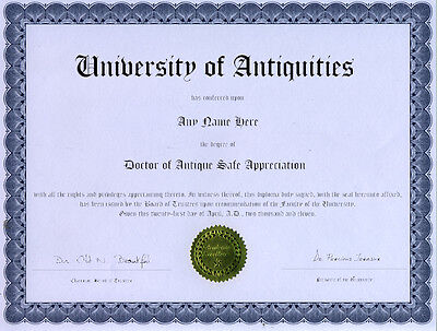 Doctor Antique Safe Appreciation Novelty Diploma
